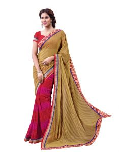 Vipul Georgette Sarees - Vipul Womens Georgette Lace bordered Saree (Multicolor)(Product Code)_13719