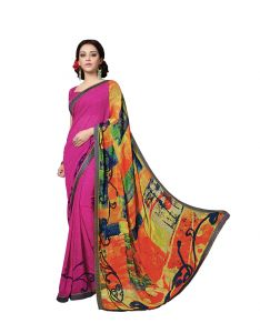 Vipul,Arpera,Parineeta Women's Clothing - Vipul Womens Georgette Lace bordered Saree (Multicolor)(Product Code)_14034