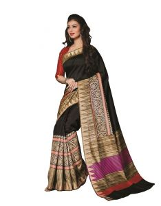 Vipul Women's Clothing ,Women's Accessories ,Womens Footwear  - Vipul Womens Bhagalpuri silk foil work Saree (Multicolor)(Product Code)_14217