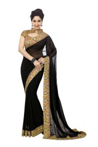 Vipul,Port,Oviya Women's Clothing - Vipul Womens Georgette Saree with digital print blouse & border (Multicolor)(Product Code)_14403
