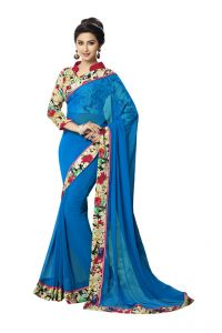 Vipul Womens Georgette Saree With Digital Print Blouse & Border (multicolor)(product Code)_14406