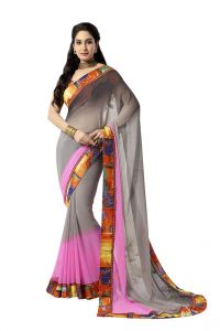 Vipul Women's Clothing - Vipul Womens Georgette Saree with digital print blouse & border (Multicolor)(Product Code)_14407