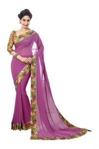 Vipul,Oviya Women's Clothing - Vipul Womens Georgette Saree with digital print blouse & border (Multicolor)(Product Code)_14408