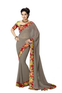 Vipul Womens Georgette Saree With Digital Print Blouse & Border (multicolor)(product Code)_14410