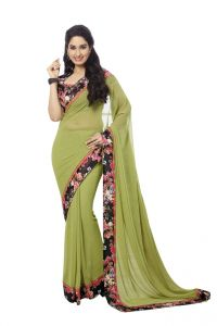 Vipul,Oviya,Valentine Women's Clothing - Vipul Womens Georgette Saree with digital print blouse & border (Multicolor)(Product Code)_14411