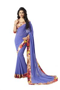 Vipul,Oviya Women's Clothing - Vipul Womens Georgette Saree with digital print blouse & border (Multicolor)(Product Code)_14415