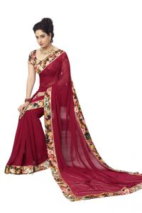 Vipul Georgette Sarees - Vipul Womens Georgette Saree with digital print blouse & border (Multicolor)(Product Code)_14417