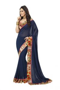 Vipul Womens Georgette Saree With Digital Print Blouse & Border (multicolor)(product Code)_14419