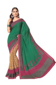 Vipul,Avsar Women's Clothing - Vipul Womens Georgette lace bordered saree (Multicolor)(Product Code)_14627