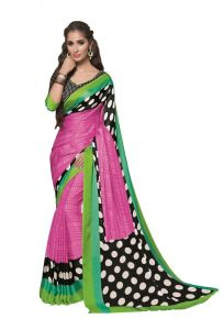 Crepe Sarees - Vipul Multicoloured Crepe Saree with blouse piece (Code - 14817)