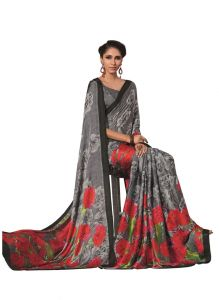 Crepe Sarees - Vipul Multicoloured Crepe Saree with blouse piece (Code - 15741)