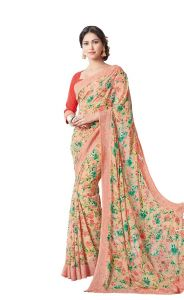 Vipul Multicoloured Georgette Saree With Blouse Piece (code - 16609)