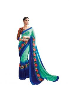 Vipul Multicoloured Georgette Saree With Blouse Piece (code - 17110)