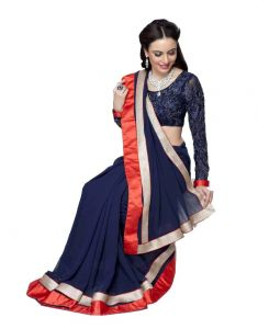 Vipul Georgette Sarees - Vipil Heavy Embroidered Full Sleeve blouse & Blue Saree on Georgette Fabric(Product Code)_2215