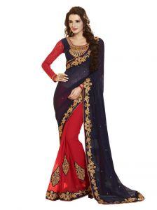 Vipul Silk Sarees - Vipul Heavy Embroidery Black & Red Jute Silk Saree(Product Code)_2410