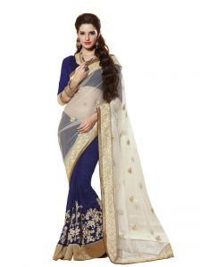 Vipul Heavy Embroidery Blue & Off White Net Half & Half Saree(product Code)_2422