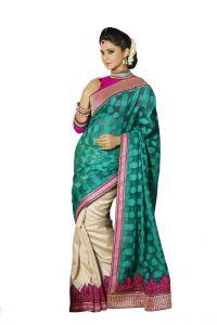 Vipul Chiffon Sarees - Vipul Womens Heavy embroideriedshimmer chiffon brasso Half n Half saree (Multicolor)(Product Code)_2506
