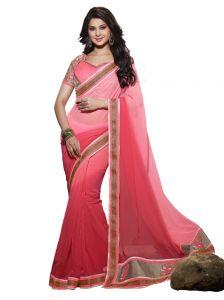 Vipul Women's Clothing - Vipul heavy embroidered Brocket blouse with Sarona chiffon Saree(Product Code)_2816