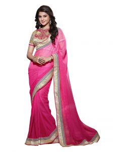 Vipul Heavy Embroidered Brocket Blouse With Georgette Jacquard Saree(product Code)_2818