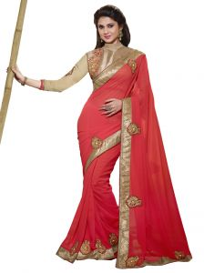 Vipul Sarees - Vipul heavy embroidered Full sleeve Brocade blouse with Georgette Saree(Product Code)_2821