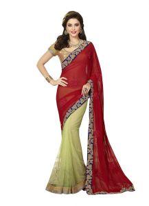 Vipul Silk Sarees - Vipul Womens Heavy embroideried Chiffon, Art silk & Net Half n Half saree (Multicolor)(Product Code)_2910