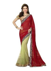 Vipul Womens Heavy Embroideried Chiffon, Art Silk & Net Half N Half Saree (multicolor)(product Code)_2910