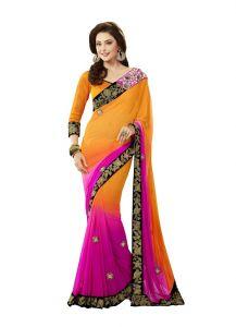 Vipul Chiffon Sarees - Vipul Womens Heavy embroideried Chiffon saree (Multicolor)(Product Code)_2911