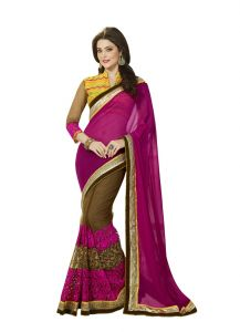 Vipul Womens Heavy Embroideried Georgette & Net Saree (multicolor)(product Code)_2916