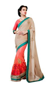 Vipul Multicoloured Shimmer Saree With Blouse Piece (code - 3023)