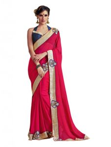 Vipul,Fasense,Surat Tex Women's Clothing - Vipul Heavy Embroidery Red Georgette Saree(Product Code)_2616