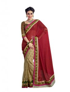 Vipul Heavy Embroidery Red & Gold Satin Jacquard Half & Half Saree(product Code)_2617