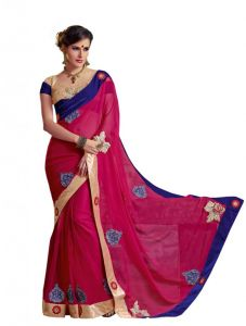 Vipul,Surat Tex,Shonaya Women's Clothing - Vipul Heavy Embroidery Red Georgette Saree(Product Code)_2618