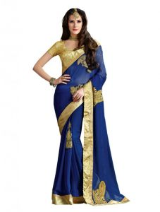 Avsar,Unimod,Parineeta,Vipul Women's Clothing - Vipul Heavy Embroidery Blue Georgette Saree(Product Code)_2624