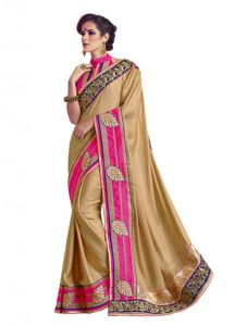 Sarees (Misc) - Vipul Heavy Embroidery Gold Shimmer Satin Saree(Product Code)_2625