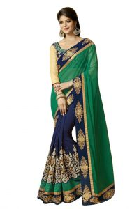 Georgette Sarees - Ruchika Fashion Half Half Green/ Blue Georgette Saree- parchhayi