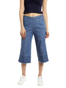 Tarama Mid Rise Wideleg Fit Blue Color Jeans For Women-a2 Tdb1224
