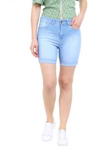 Tarama High Rise Slim Fit Light Blue Color Mini Shorts For Women