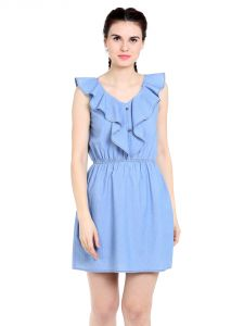 Tarama Regular Fit Cotton Denim Fabric Straight Dress For Women-a2 Tdd1256