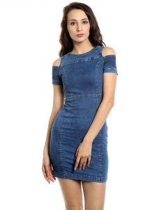 Western Dresses - TARAMA Bodycon Fit Cotton Stretch Denim fabric Bodycon Dress for women-A2 TDD1257