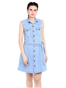 Tarama Regular Fit Cotton Denim Fabric Shirt Dress For Women-a2 Tdd1258