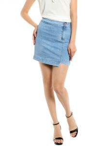 TARAMA High Rise Regular Fit Light Blue Color Mini Skirt For Women's-A2 TDS1242
