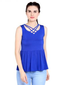Tarama Viscose Spandex Fabric Royal Blue Color Relaxed Fit Top For Women-a2 Tdt1301a