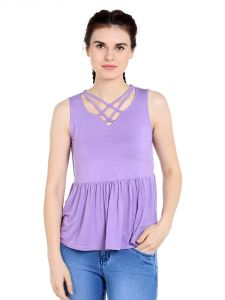 Tarama Viscose Spandex Fabric Purple Color Relaxed Fit Top For Women-a2 Tdt1301b
