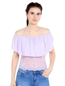 Tarama Viscose Spandex Fabric Lilac Color Regular Fit Top For Women-a2 Tdt1303b