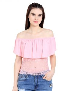 Tarama Viscose Spandex Fabric Light Pink Color Regular Fit Top For Women-a2 Tdt1303c