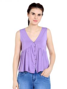 Tarama Viscose Spandex Fabric Purple Color Relaxed Fit Top For Women-a2 Tdt1304a