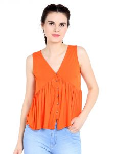 Tarama Viscose Spandex Fabric Orange Color Relaxed Fit Top For Women-a2 Tdt1304b