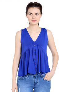 Tarama Viscose Spandex Fabric Royal Blue Color Relaxed Fit Top For Women-a2 Tdt1304c