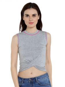Tarama Viscose Spandex Fabric Grey Melange Color Regular Fit Top For Women-a2 Tdt1307a