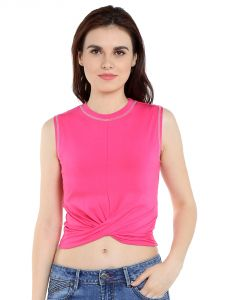 Tarama Viscose Spandex Fabric Hot Pink Color Regular Fit Top For Women-a2 Tdt1307b